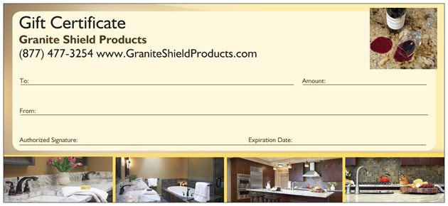 Gift Certificate To Be Used At Www Graniteshieldproducts Com